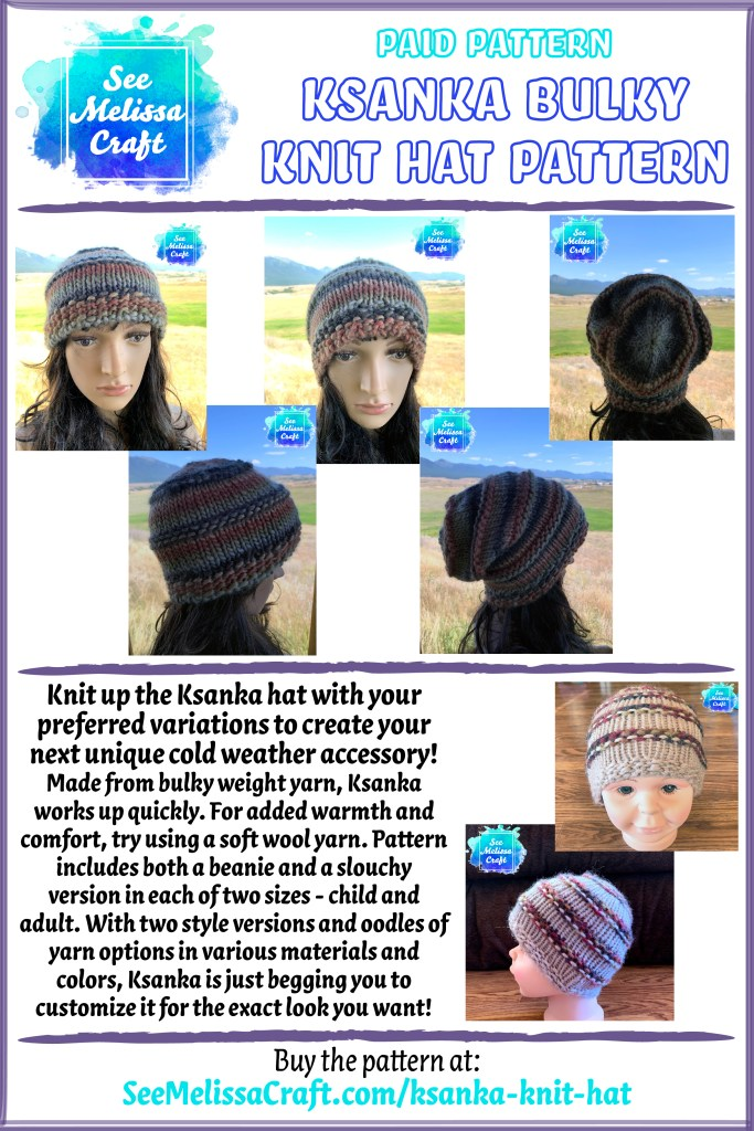 Ksanka bulky knit hat pattern