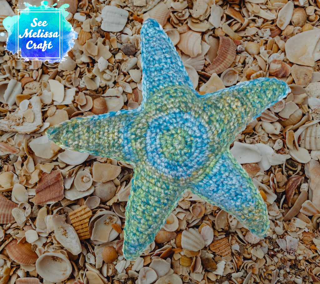 Large starfish made from free crochet softie pattern