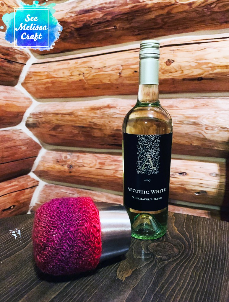 Wine tumbler koozie made with free knit pattern
