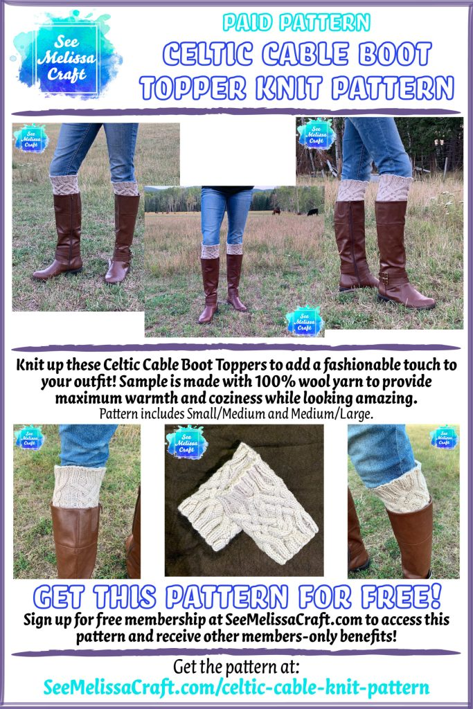 Cable boot toppers knit pattern
