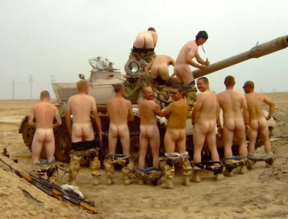military guys dancing naked and jerking off in a tank