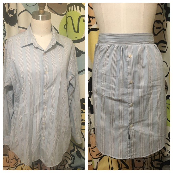 Upcycled Men's shirt to skirt