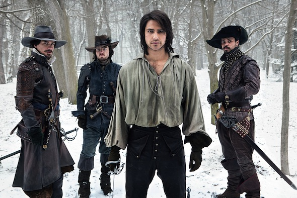The first official image of the cast. Aramis (SANTIAGO CABRERA), Athos (TOM BURKE), D'Artagnan (LUKE PASQUALINO), Porthos (HOWARD CHARLES). Image: BBC