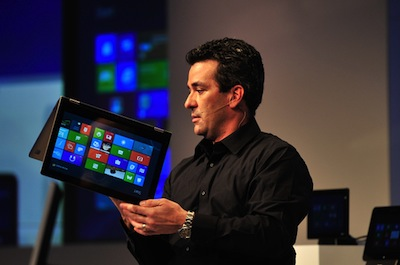 Microsoft's Mike Angiulo demonstrates some of the latest hardware at the Windows 8 Consumer Preview event in Barcelona, Spain, February 29, 2012.