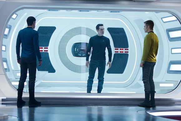 (Left to right) Zachary Quinto is Spock, Benedict Cumberbatch is John Harrison and Chris Pine is Kirk in STAR TREK INTO DARKNESS from Paramount Pictures and Skydance Productions. Photo Credit: Zade Rosenthal © 2012 Paramount Pictures. All Rights Reserved.