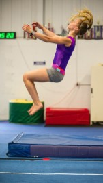 Makayla O'Neil of Clinton Township does a tumbling routine.