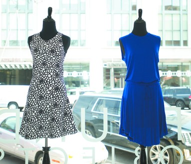Floral knit racer back dress, $585, and blue jersey dress, $265, both from A.L.C., at Found Objects, Birmingham.