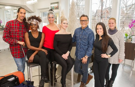 Staff at Luigi Bruni Salon: Kevin Green of Ferndale, Dominique Jackson of Grand Blanc, Tania Caringi of Sterling Heights, Jenna Antonazzo of Troy, Luigi Bruni of Birmingham, Haley Cassar of Sylvan Lake and Erika Broderdorf of Beverly Hills.