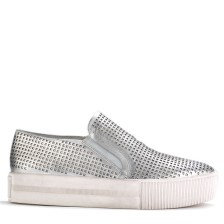 Ash perforated leather KURT SKATE SLIP-ONS ($225) in Silver, at Sundance Shoes, West Bloomfield (248-737-9059).