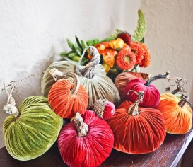 hoose your palette — traditional rustic orange and golds or stray with a monochromatic silver or punch it up with a pop of fuchsia — and nestle a group of fabric pumpkins and acorns by PLUSH PUMPKIN BY MONYA (available in velvet and metallic; $10-$100) on your holiday table, or place one at each guest's seat for a colorful place setting. Zieben Mare, Franklin (248-539-8879; ziebenmare.com).