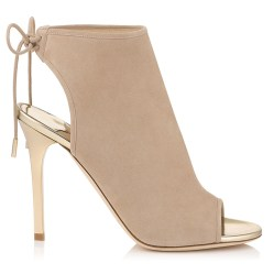 Jimmy Choo suede and mirror-leather FROZE SANDAL BOOTIES ($950) in Nude, area Nordstrom stores (nordstrom.com).
