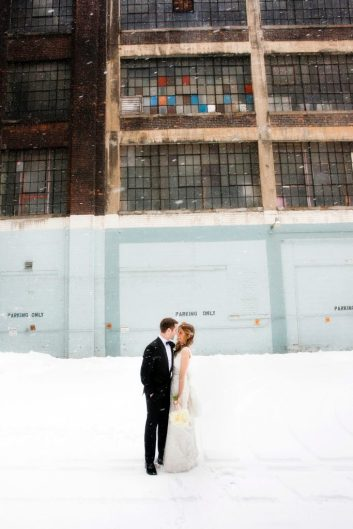 The surprise snow storm added to the romance of the day.