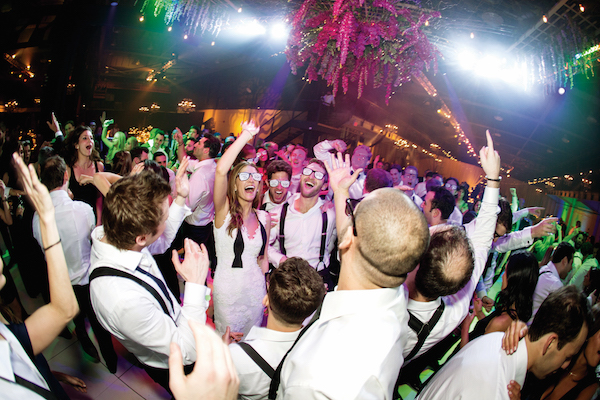 The couple ordered fun, monogrammed, party glasses in black and silver to give out on the dance floor to keep the party going.