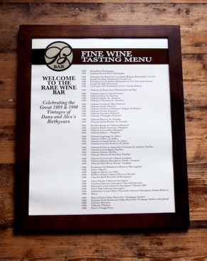 Rare wine menu with vintages from Dana and Alex's birth years.