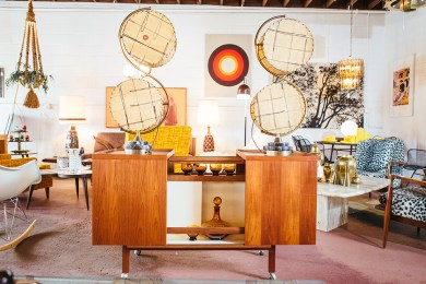 Niels Erik Glasdam-Jensen bar cart, $900, and Atomic Majestic table lamps, $1,000 for set of two.