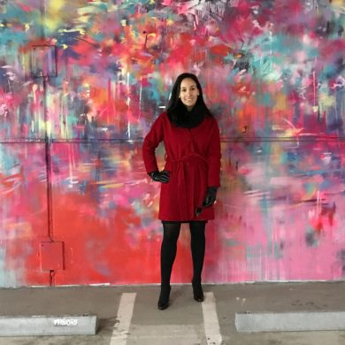 Jaclyn checking out Graffiti art at the Z Gallery Parking Structure in downtown Detroit.
