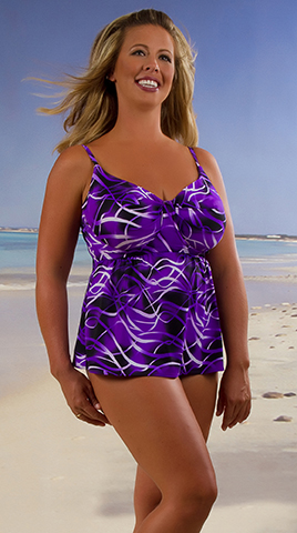 Available at Custom Swimear by Exelnt, all by Turq Splash: In purple, top, $118.50, bottom, $75.50