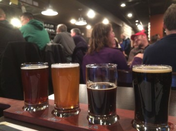 A flight of beers at the new Farmington Brewing Company.