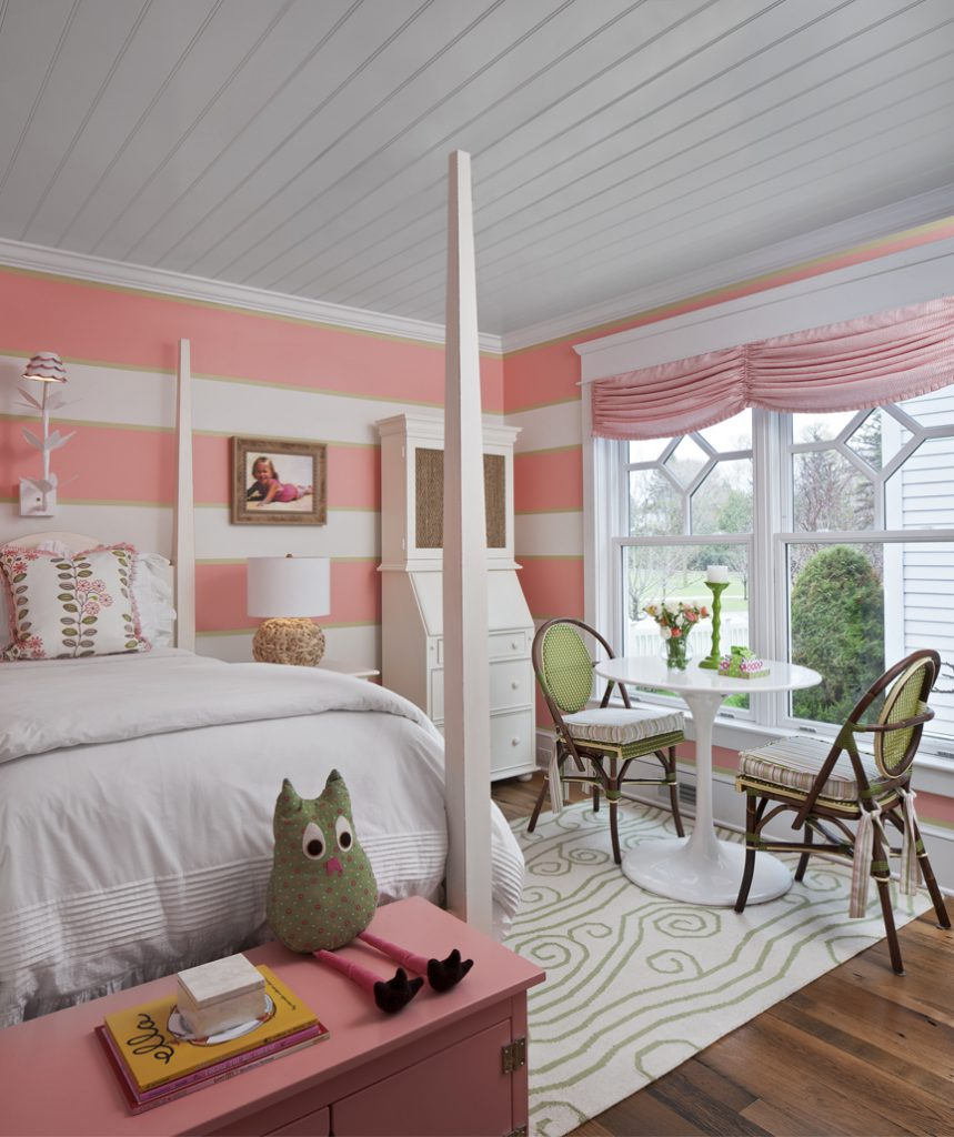 This charming bedroom, a welcoming place to study, was designed by Vee Mossburg of the Cottage Company of Harbor Springs, cottage-company.com.