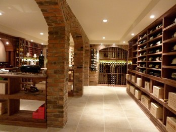 Renovated French country-style wine cellar.