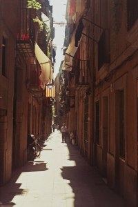 The narrow streets of the Gothic Quarter in Barcelona