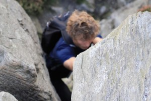 Scrambling on Tryfan in Snowdonia