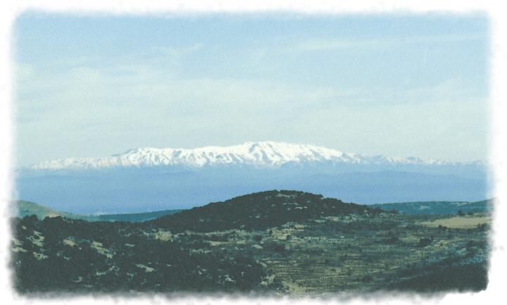 The snow-capped peaks of Mt. Hermon. Source: see below.