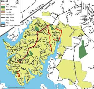 Map of Tega Cay Parks