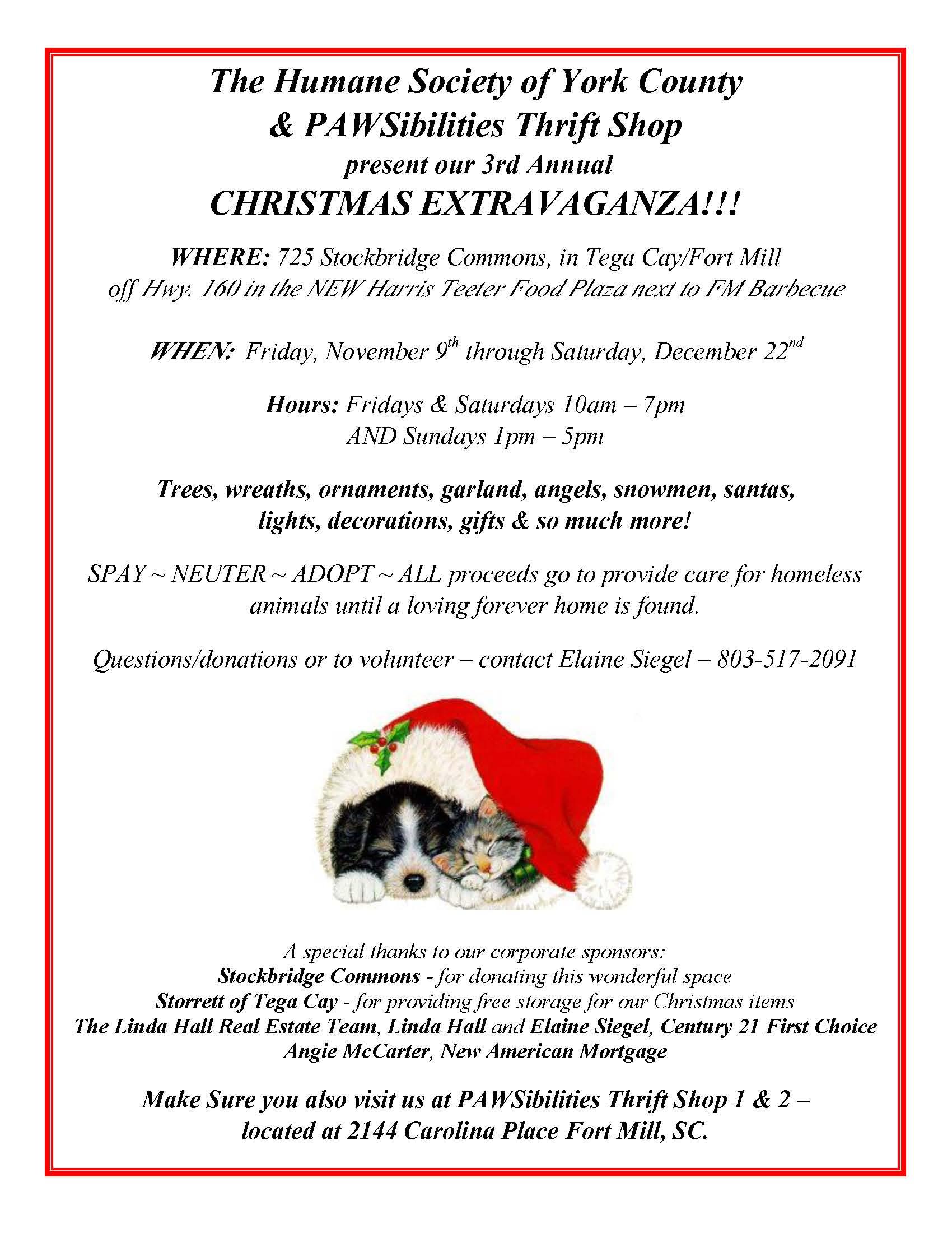 PAWSibilities Christmas Store Opens Nov 9 2012 | See Tega Cay South ...