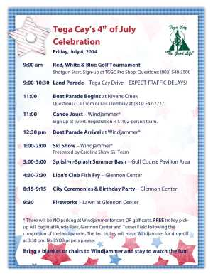 July 4th 2014 Schedule