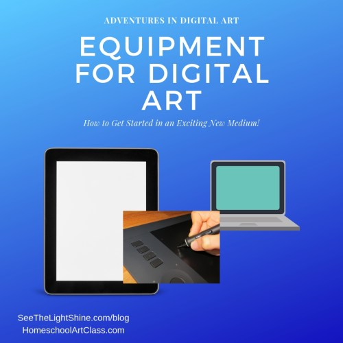 iPad & laptop with text overlay. Adventures in Digital Art. Equipment for Digital Art. See the Light Shine Blog