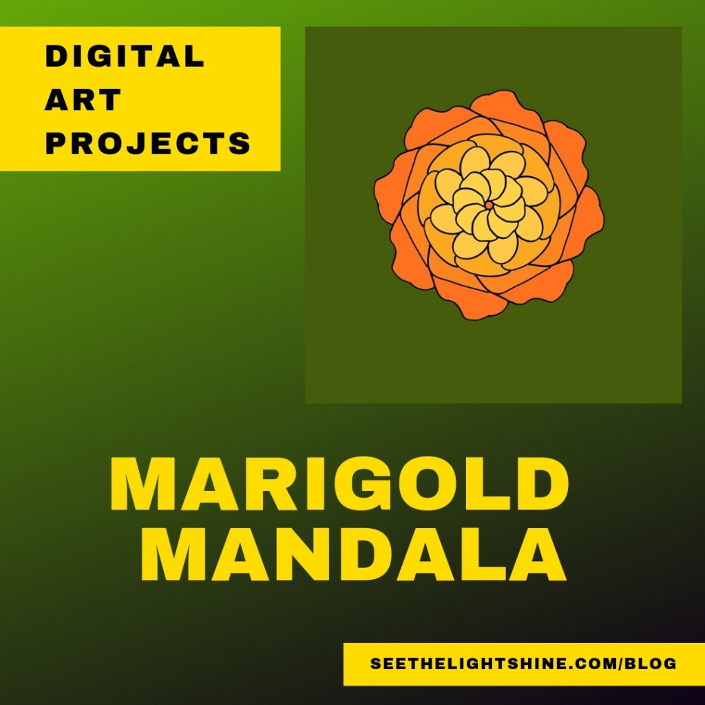 Marigold Mandala on green background. See the Light Digital Art Projects