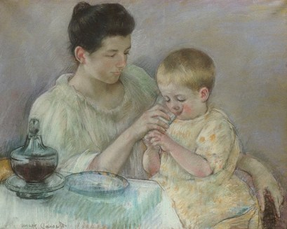 Mother Feeding Her Child - Painting by Mary Cassatt