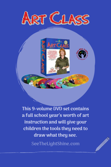 Blue background with art DVDs and text overlay. This 9-volume DVD set contains a full school year's worth of art instruction and will give your children the tools they need to draw what they see. See the Light