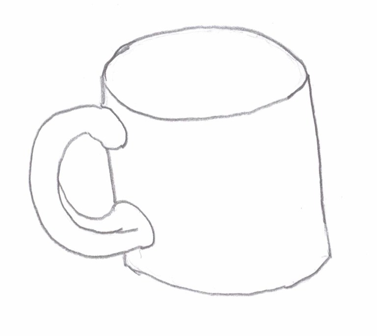 modified contour drawing of a coffee mug