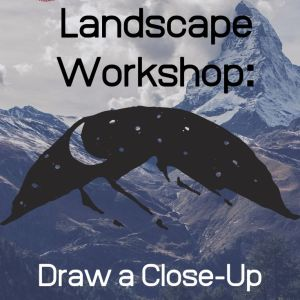 Mountain range with stars and moon. Text overlay. Landscape Workshop: Draw a Close-Up Mountain. See the Light Art
