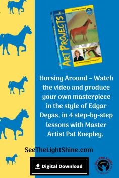 Blue and yellow background with horses. Text overlay: Horsing Around Art Project. See the Light Shine
