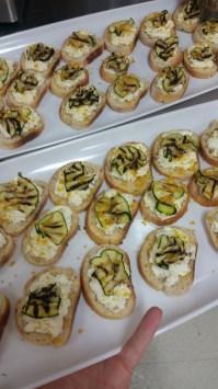 Bruschetta topped with Marscarpone, grilled zucchini & Salumi Bottarga