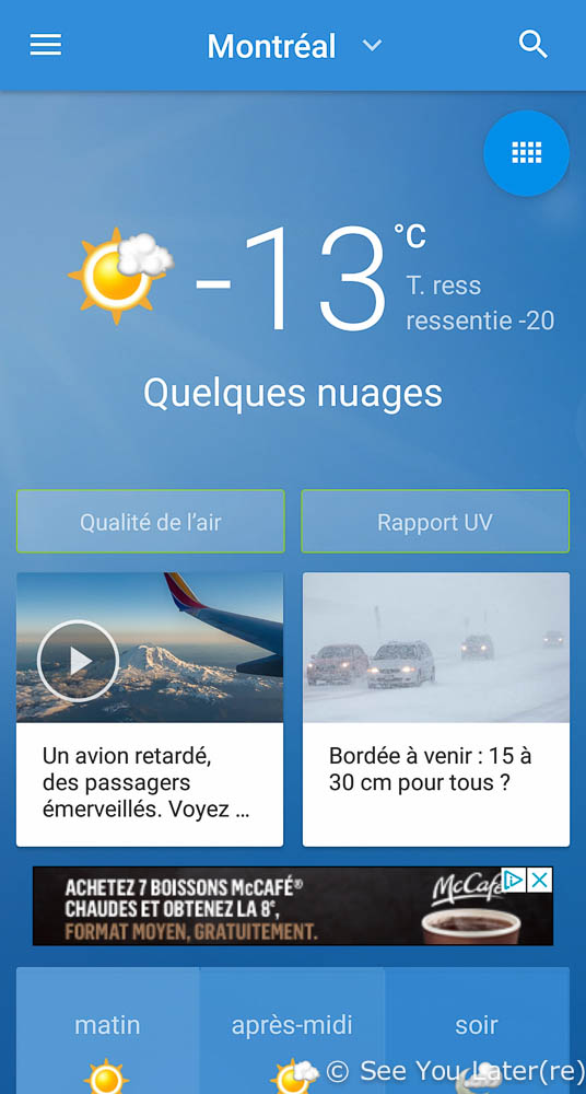 Screenshot temperature montreal