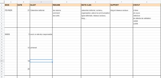 google sheets calendrier éditorial se faire connaître en ligne