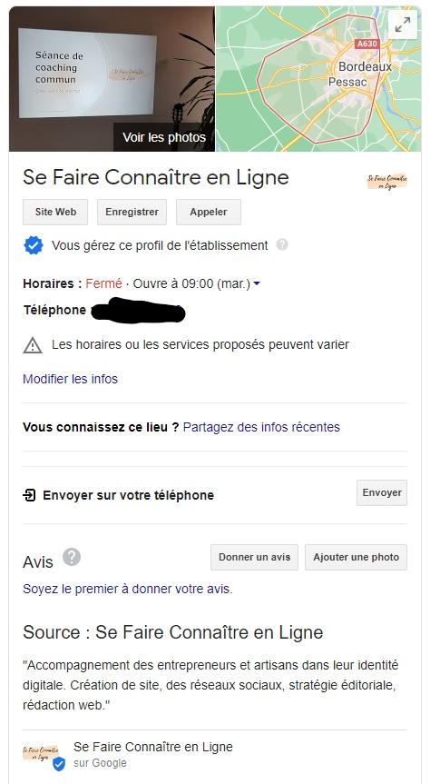 fiche établissement google my business