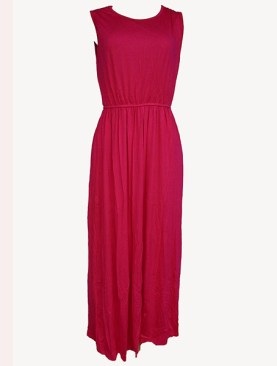 Women's long armless dress-Pink.
