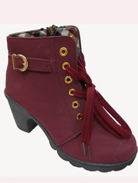Women's stylish boots with laces-Maroon.