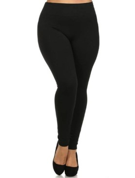 Women's cotton plus size leggings-Black.