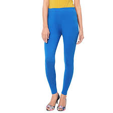 Women's cotton plain leggings-Royal Blue.