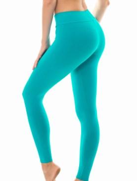 Women's plain cotton leggings-Turqoise.