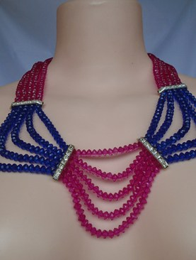 Women's classy glass bead necklaces-Pink&Blue.