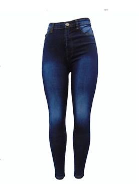 Women's faded denim jeans-Navy Blue.