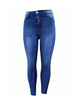Women's fancy denim trousers-Blue.
