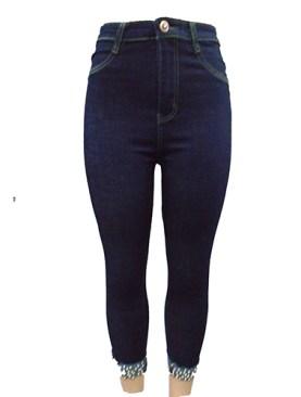 Women's classy stone detailed denim jeans-Blue.